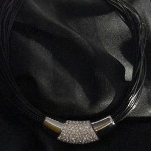 NWT MULTI STRAND FAUX LEATHER BLACK NECKLACE
